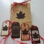 SET OF 4 FALL LEAF TAGS