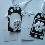 Set of 6 Black and White Flower Tag..