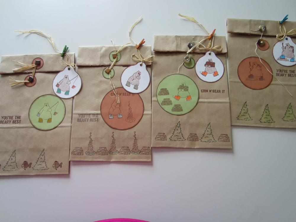 4 Rustic Bear Bags with Coordinating Gift Tags